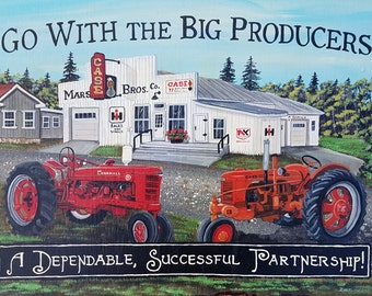 Antique Tractor Painting Case and IH Tractor Original Painting