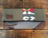 Montana clutch/Multicolor aztec print on army green-Gray canvas reverse side/Large clutch/Vegan leather/Add any state patch