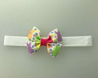Easter Bunny Peeps hair bow  Headband diff options for headband