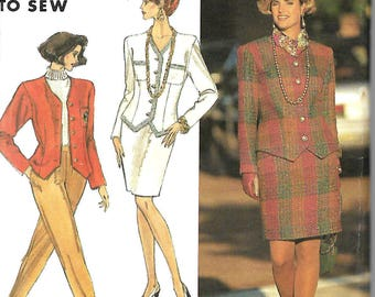 Simplicity 7450 Misses/ Miss Petite Easy Pants, Skirt And Lined Jacket Pattern, Size 8-14 &  12-18, UNCUT