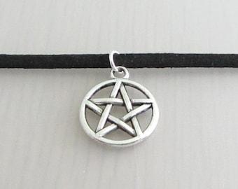 Custom Color Silver Supernatural Pentagram Charm Faux Suede Choker Necklace, 3mm Width Faux Suede Choker Necklace, Wiccan Pagan Necklace