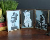 "Vintage 3 1/2"" x 5"" Triple Picture Frame Decorative Hinged Gold Tone Metal Portrait"