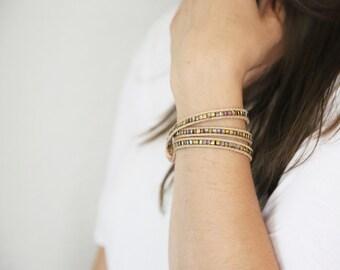 Sale! Leather Wrap Bracelet, Beaded Wrap Bracelet