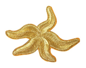 ID 0341B Starfish Sea Creature Patch Sandy Beach Embroidered Iron On Applique