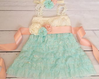 Baby girl lace dress-lace dress-Easter spring dress-1st birthday dress-mint ivory peach dress-mint peach flower girl dress-cake smash outfit