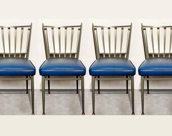 Set of Four Chromcraft 1950s Slat Back Dinette Chairs