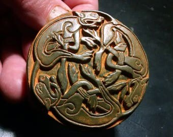 Celtic Hounds, small placque in a Weathered Iron finish,  Book of Kells Triskele, repro vintage, Cast Shadows Studio