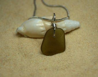 Drilled and Wire Wrapped Green Sea Glass Necklace