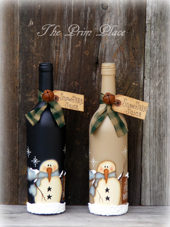 Wine bottle ornaments - Primitive Snowman Wine Bottle Snowman Decor Christmas Decor Winter Decor Snowmen