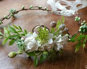 Bride hair crown, succulent hair crown ,boho bridal hair crown, woodland, ready to go,  bride headpiece, bridal headband,