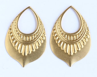 Raw Brass Metal Stamping Earring  Ornament drops (2)