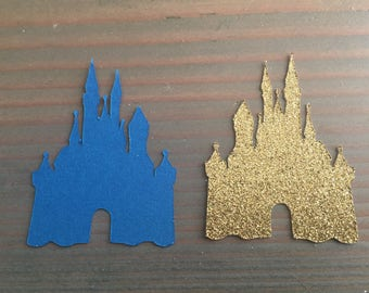 "50 Castle confetti, gold glitter and blue, Prince/Princess confetti, baby shower. Birthday party, table decor, royal, measures 2.4"" x 1.8"""