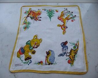 Vintage rare Childrens handkerchief - Printed animals - Arnold Tilgmann design