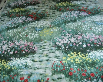 Vintage Swedish hand printed cotton fabric - Garden path lined with flowers