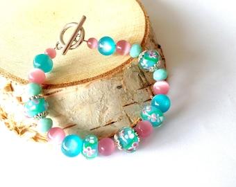 Blue bead bracelet. Turquoise Bracelet. Turquoise and pink Bracelet. Blue bead Bracelet. Linnepin010