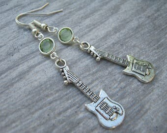 Electric Guitar Birthstone Earrings, Musical Instrument Charm Earrings, Personalized Swarovski Crystal, Band Earrings, Music Gift