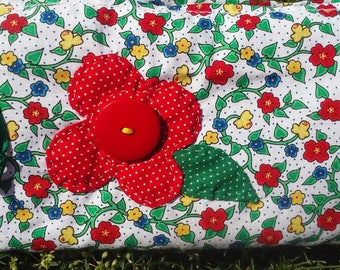 Quilted, lined, zippered cosmetic bag
