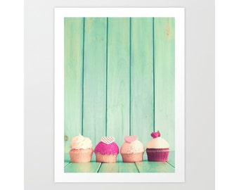 Cupcake photography, Kitchen decor, gift for her, cupcake lover, kitchen art, kitchen wall art large wall art mint wall art mint green decor
