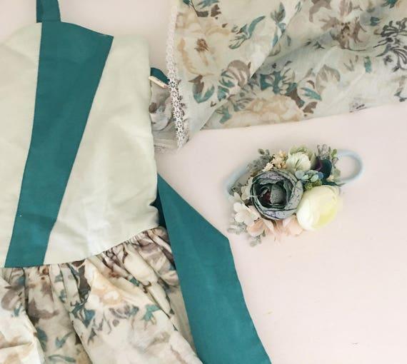 Teal blue floral headband- Well dressed wolf Flora Fairy- Flower crown- Floral crown- - Flower Girl- Spring Wedding- Dollcake -tutu du m