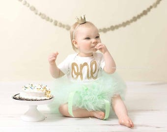 FIRST BIRTHDAY OUTFIT Girl, Gold 1st Birthday, Mint and Gold Tutu, Cake Smash Outfit girl, First Birthday Outfit Girl Mint,Smash Cake Outfit