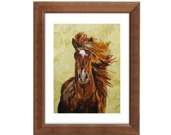 Hourse print Pressed flowers art Horse painting dried flowers decor Horse art Original art Dry flower Wall art Horse print Animals art