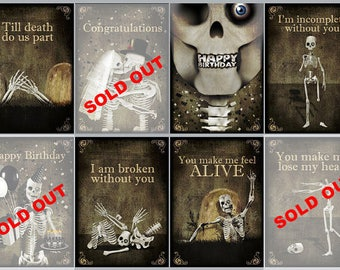 2 greeting cards,skull,gothic,art,skeleton,Halloween,Happy birthay,i love you,zombie,walking dead,gift,congratulations