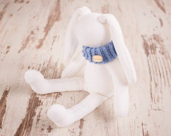 Plush Easter bunny stuffed white rabbit toddler gift for kids handmade animal toy with blue scarf