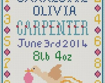 Personalised Birth Sampler Cross Stitch pattern - made to order