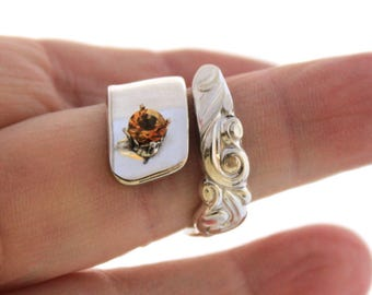 Spoon Ring with CITRINE Gemstone - SOUTH SEAS 1955 - Vintage Silverware Spoon Ring, Spoon Jewelry - Ready To Ship - Made In Usa - Size 7.5