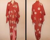 SALE 20%off!! - Antique kimono - Dark salmon pink, Traditional scenery, Floral, Prewar