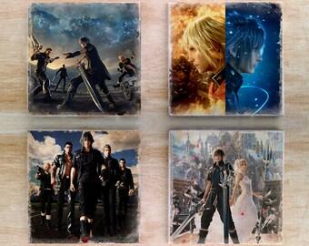 Stone or Ceramic Final Fantasy XV & Type-0 Coaster set - Vintage Retro ffxv ff type-o RPG Video Game Noctis Lucis Caelum Ace