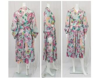 1960's Custom Handmade OOAK Mod Cotton Print Dress Size  8