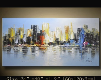 Original Abstract Painting, Modern Textured Painting,  Palette Knife cityscape, Home Decor, Painting Oil on Canvas  by Chen 1024