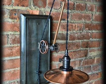 Copper Pulley Wall Sconce - Industrial - Adjustable - Steampunk - Plug-in - Pulley Light - Pulley Lamp - Vintage Style Light