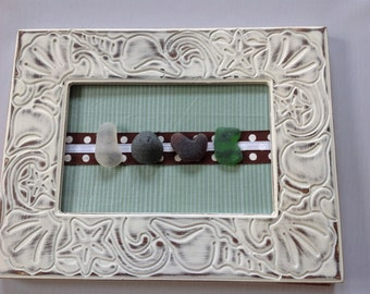 "Genuine Sea Beach Glass Framed ""LOVE"" Beach Glass Letters Handmade Handcrafted 9x7 Lovely Beachy Frame"
