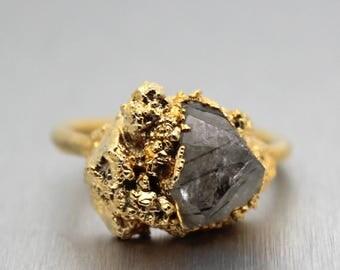 quartz ring, crystal ring, rutile quartz, rutilated quartz, gold ring, ooak, gifts for her, crystal jewelry, druzy gold ring