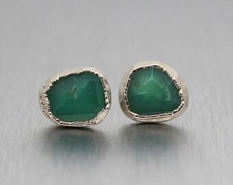 SUMMER SALE chrysoprase earrings, chrysoprase studs, sterling silver, silver earrings, silver studs, mint green, rose cut, fancy cut, facete