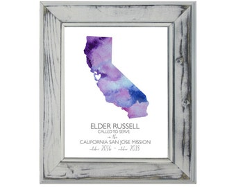 California LDS State Print, Mission Print, LDS Gift, 8x10, Called To Serve