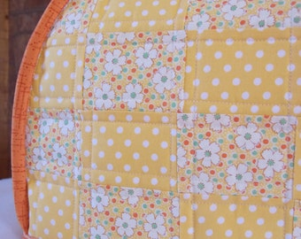 Handmade quilted toaster cover 2 slice, daisies, orange, green, yellow polka dot, patchwork  kitchen appliance, housewares, reversible