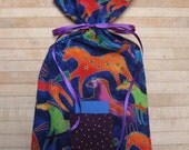 fabric gift bag with ribbon tie and gift tag wine gift bag