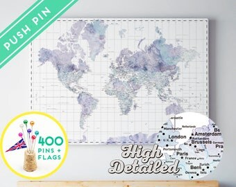 Canvas World Map Push Pin Watercolor Marble - Ready to Hang - High Detailed - 240 Pins + 198 World Flag Sticker Pack Included