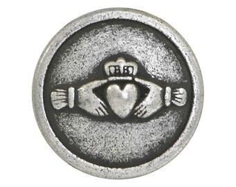 24 Claddagh Hands and Heart 9/16 inch ( 15 mm ) Metal Buttons Antique Silver Color