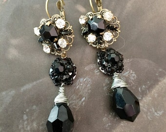 Black Czech Earrings Unique Art Deco Filigree Artisan Dangles