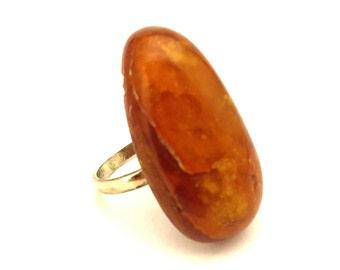 Amber Baltic Ring Huge Honey Cognac 5.75 Gr Silver 925 Women Handmade Sz.8.0