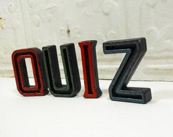 Vintage Alphabet Block Letters Quiz Set of Four Q U I Z