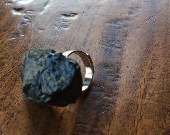 Black Beach Stone Statement Ring