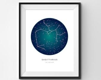 Sagittarius Printable | Sagittarius Art Print | Constellation Printable | Constellation Art | Constellation | Zodiac Art | Printable Art