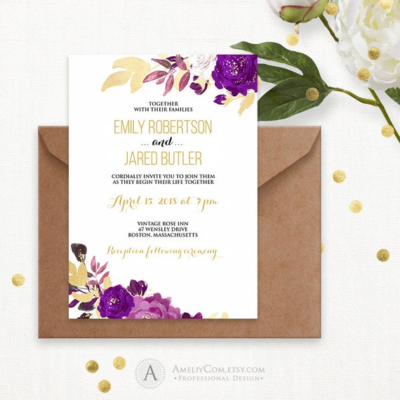Gold Purple Wedding Invitation Printable Watercolor Wedding – Gold and Purple Wedding Invitations