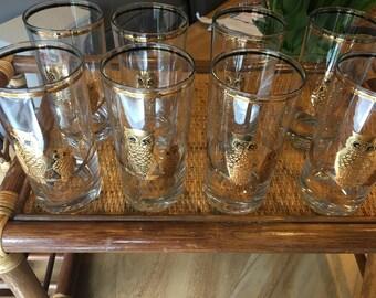 Culver Ltd Vintage Owl glasses set of 8