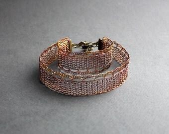 Copper Wire Crocheted Choker&Bracelet - Lacy Elegant Jewelry Set - Unusual Metal Choker - Lacy Choker - Everyday Choker  - Lacy Bracelet